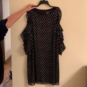 Black crepe dress with metallic gold print